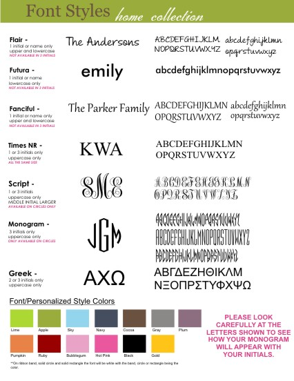 Clairebella home collection font styles