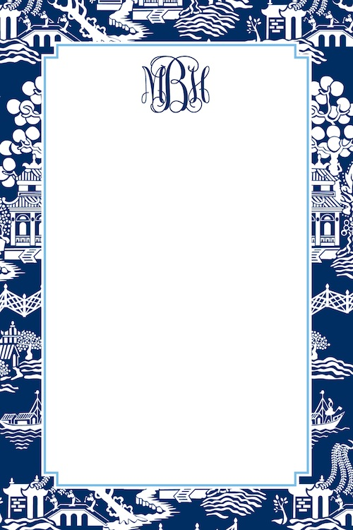 Boatman Geller Notepad - Chinoiserie Navy