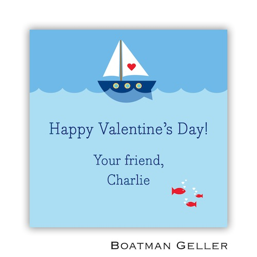 Boatman Geller Valentines Sticker Heart Sailboat 21503-Stickers, Boatman Geller, Valentines