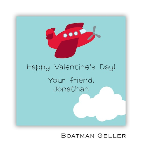 Boatman Geller Valentines Sticker Airplane Red 21507-Stickers, Boatman Geller, Valentines