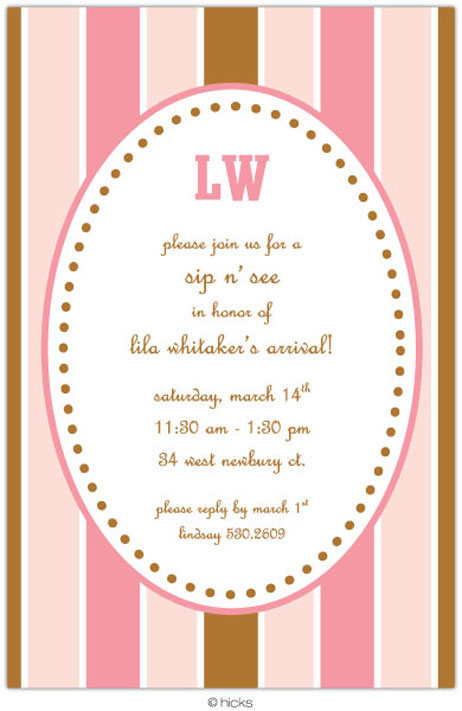 Jessica Pink & Brown Party Invitation-hicks paper goods, stripe, pink, brown, birthday, party, invitation