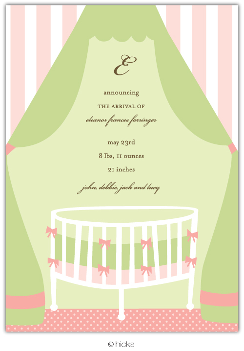 Canopy Crib Girl Invitation & Announcement-hicks paper goods, baby, pink, crib, party, announcement