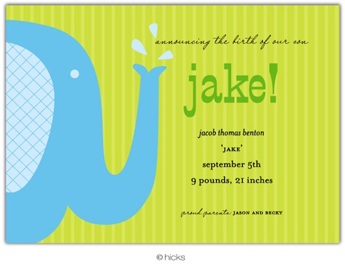 Elephant Invitation-hicks paper goods, cupcake, birthday, party