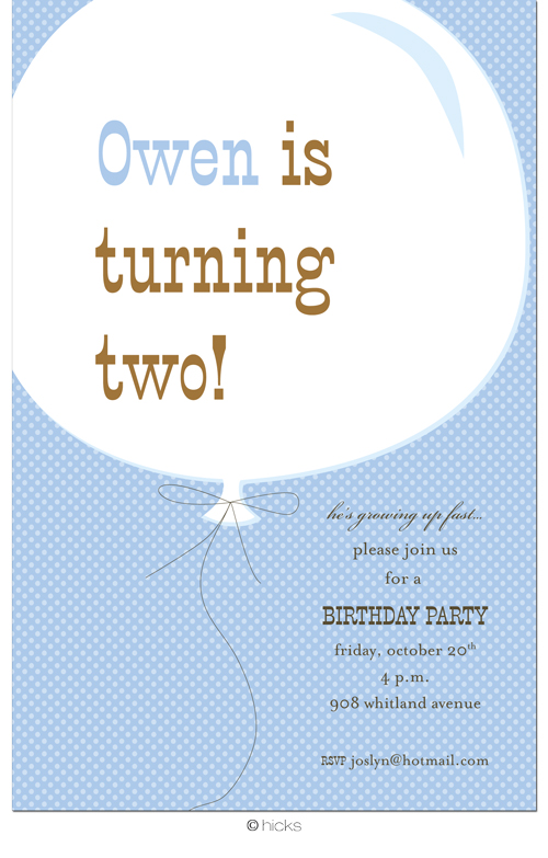 Big Birthday Balloon Blue Party Invitation-hicks paper goods, blue, boy, birthday, party, balloon
