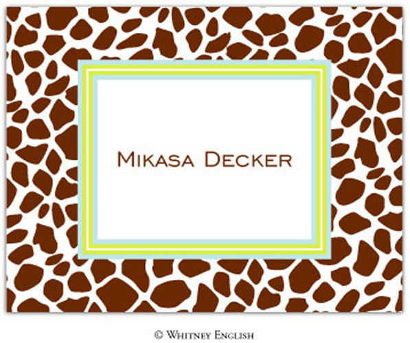 Whitney English Note Card Giraffe Brown N-6087-Whitney English, Note card,