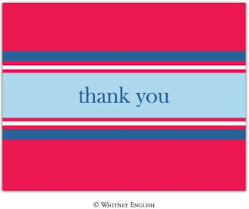 Whitney English Note Card portStripeRedThankYouPrePrintedNoteCardsN-138195T-Whitney English, Note card,