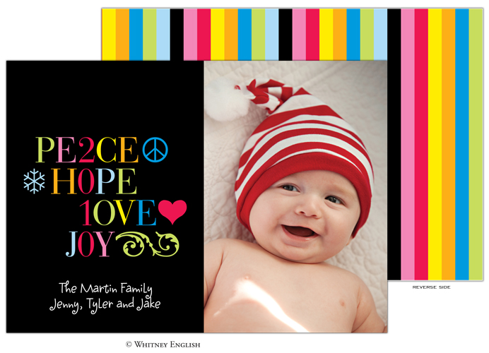 Whitney English Black-Peace Hope Love Joy Photo Card-Holiday, Photo Card, Whitney English, Christmas, Red