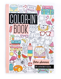 Travel Size Color-in' Book - Retro Summer-pens, international arrivals, gifts, coloring books