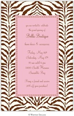 Nali Pink Brown Zebra Party Invitation-whitney english, zebra, pink, brown, birthday, party