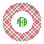 BG Plate - Ashley Plaid Pink - 19924-melamine, plates, boatman geller, gifts