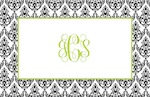 Boatman Geller Placemat - Madison Damask White & Black-placemats, boatman geller, gifts