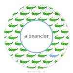 BG Plate - Alligator repeat Blue-melamine, plates, boatman geller, gifts