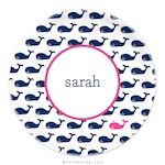 BG Plate - Whale Repeat Navy - 20916-melamine, plates, boatman geller, gifts