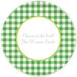Boatman Geller St. Patrick's Day Plate Classic Check Kelly & Lime-St. Patrick's Day, melamine, plates, boatman geller, gifts