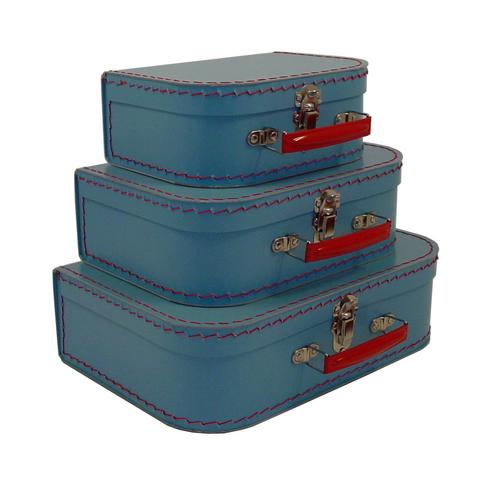 Euro Suitcases - Soft Blue-Suitcases, paper, travel, gift,