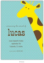 Giraffe Party Invitation-hicks paper goods, blue, giraffe, birthday, party