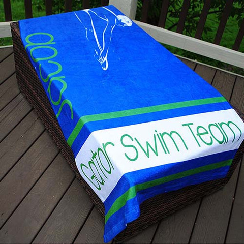 LBJ Beach Towel - Boy Swim Team Stripe-beach, towel, personalized