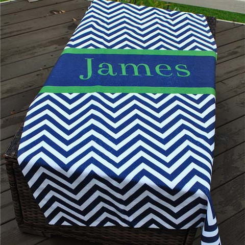 LBJ Beach Towel - Chevron Navy Stripe-beach, towel, personalized