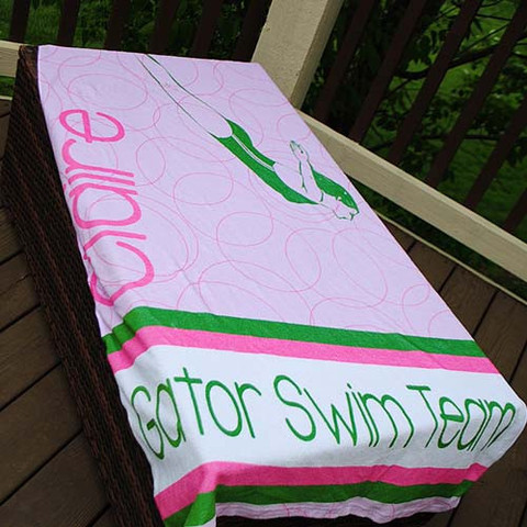 LBJ Beach Towel - Girls Swim Team Stripe-beach, towel, personalized