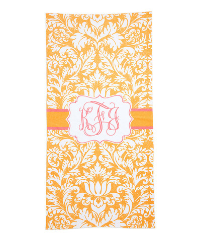 LBJ Beach Towel - Orange Damask-beach, towel, personalized