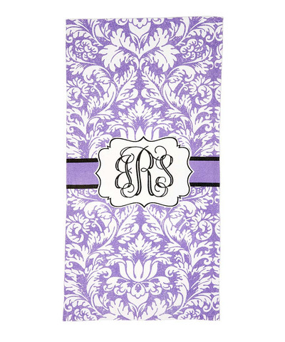 LBJ Beach Towel - Purple Damask-beach, towel, personalized