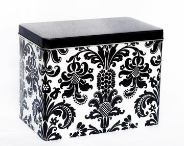 Whitney English Black Damask Index Tin-Index Tin, receipe box, gift, whitney english, accessory