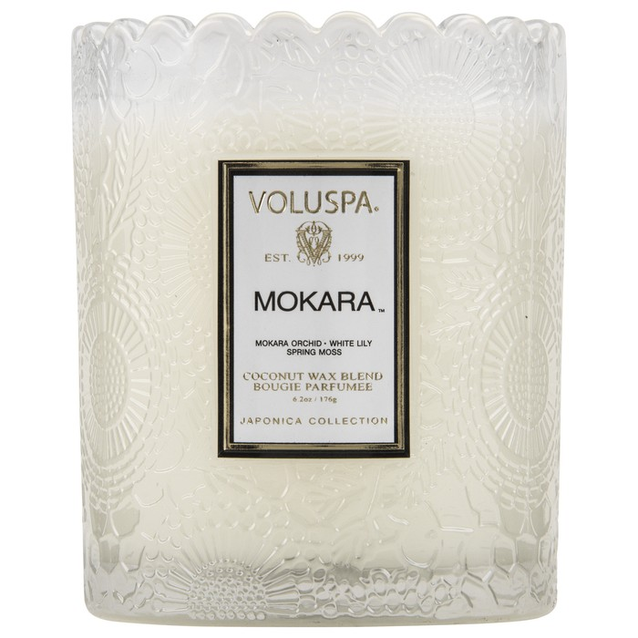 Voluspa - Mokara - Scalloped Edge Embossed Candle-Candle, Voluspa, Gift,