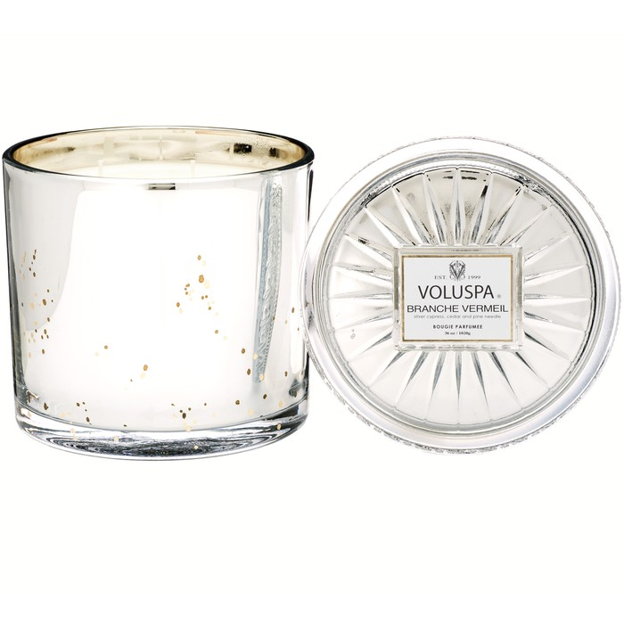 Voluspa - Branche Vermeil - Large Embossed Glass Jar Candle-Candle, Voluspa, Gift,