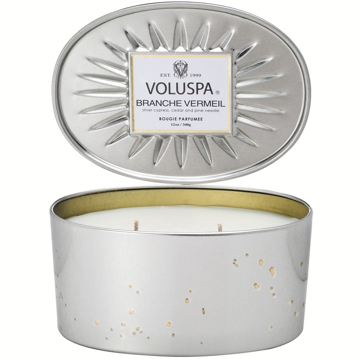 Voluspa - Branche Vermeil - Oval Tin 2 Wick Candle-Candle, Voluspa, Gift,