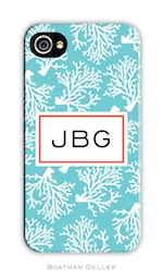 BG Cell Phone Cover - Coral Repeat Teal-gifts, boatman geller, cell phone cover