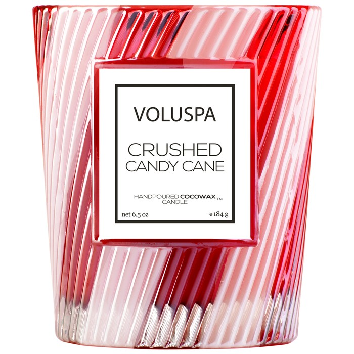 Voluspa - Crushed Candy Cane - Textured Glass Jar Candle-Candle, Voluspa, Gift,