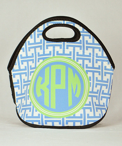 LBJ Lunch Tote - Blue Greek Key Print-lunch tote, lunchbox