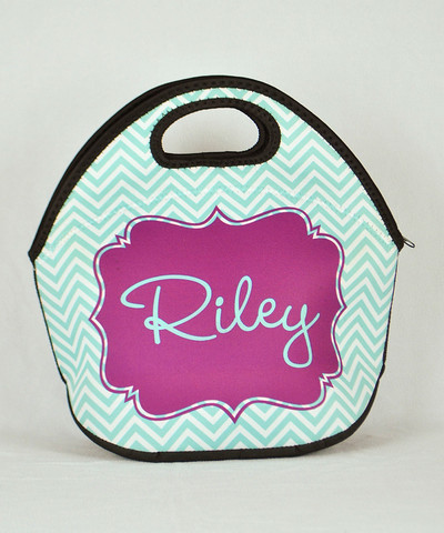 LBJ Lunch Tote - Teal Chevron Print-lunch tote, lunchbox