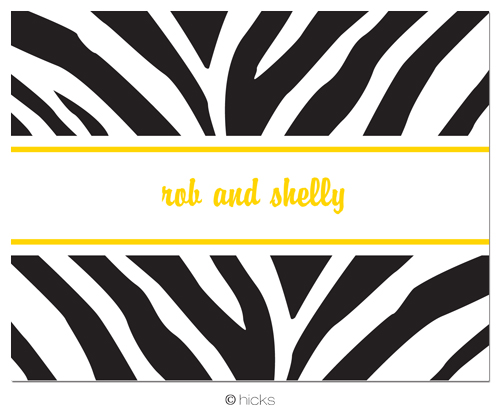Hicks Paper Goods Note Card Zebra Black NC322-Note card, Hicks Paper Goods